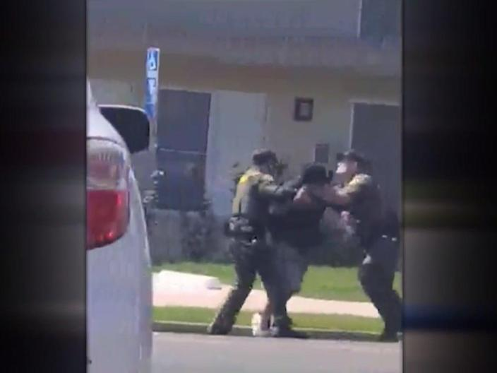 <p>Video showing the moment sheriff's deputies tackle and shot a homeless man for jaywalking </p> (Orange County Sheriffs Department / Local 12 News)