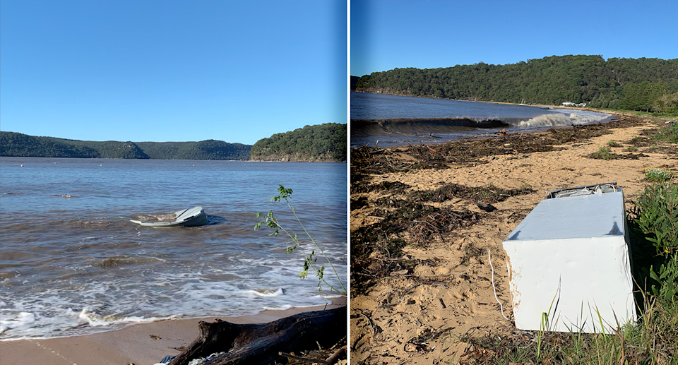 A water tank and a fridge washed up at Patonga. Source: Michael Dahlstrom