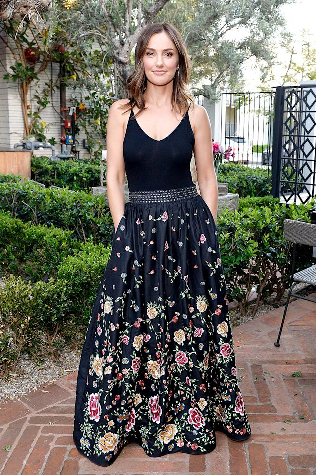 <p>The brunette beauty took our breath away in the dark floral-embroidered Alice + Olivia skirt she wore to co-host the FashionABLE Equal Pay Day kickoff dinner in L.A. (Photo: Stefanie Keenan/Getty Images for FashionABLE) </p>