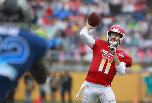 Quarterback Alex Smith, now with Washington, wore the Vicis Zero 1 helmet last year with Kansas City. The helmets tested best in laboratory testing commissioned by the NFL and NFLPA. (AP)