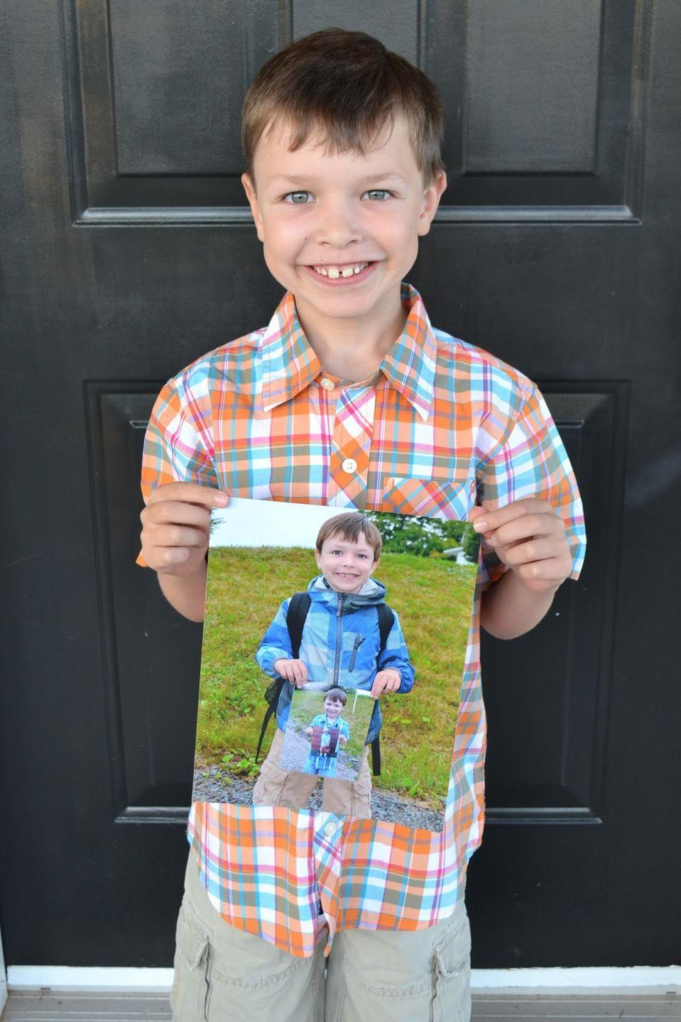 """<p>Start this mind-bending tradition when your kids first start school. Each year, they'll take a new photo holding the one they took the year before. </p><p><em><a href=""""http://eastcoastmommyblog.blogspot.com/2013/09/first-day-of-school.html"""" rel=""""nofollow noopener"""" target=""""_blank"""" data-ylk=""""slk:See more at East Coast Mommy »"""" class=""""link rapid-noclick-resp"""">See more at East Coast Mommy »</a></em></p>"""