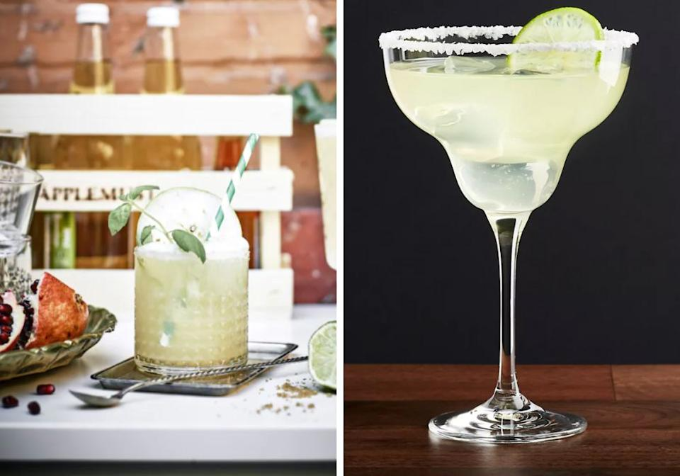 "Garcia keeps it simple with rocks glasses from Ikea, which start at $3 each. Gonzalez uses Crate & Barrel margarita glasses, but her husband's hack is to keep his frozen margs cold in his Yeti tumbler, which you'll remember doubles as a shaker.<br /><br /><strong><a href=""https://www.ikea.com/us/en/p/frasera-whiskey-glass-00208788/"" target=""_blank"" rel=""noopener noreferrer"">Get the Ikea Frasera rocks glass for $2.99</a></strong><br /><br /><strong><a href=""https://go.skimresources.com?id=38395X987171&xs=1&xcust=margs-KristenAiken_04-28-21-&url=https%3A%2F%2Fwww.crateandbarrel.com%2Fglory-margarita-glass%2Fs193453"" target=""_blank"" rel=""noopener noreferrer"">Get the Crate & Barrel Glory margarita glass for $4.95</a></strong>"