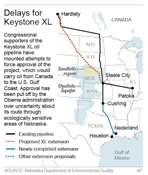 Map shows the proposed Keystone pipeline route; 2c x 4 inches; 96.3 mm x 101 mm;
