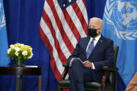 President Joe Biden meets with United Nations Secretary General Antonio Guterres at the Intercontinental Barclay Hotel during the United Nations General Assembly, Monday, Sept. 20, 2021, in New York. (AP Photo/Evan Vucci)