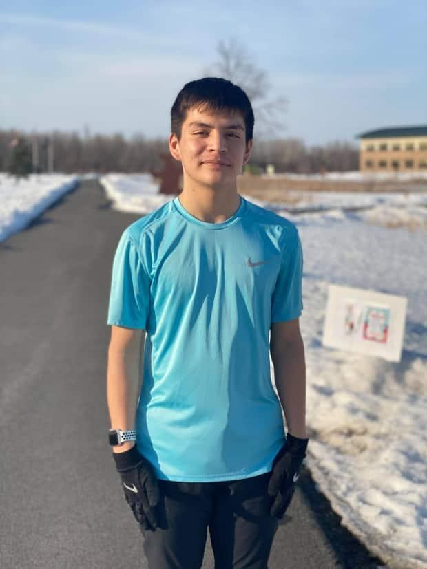 Teen athlete Cayde Lazore raised over $3,000 in pledges for the Akwesasne Boys & Girls Club for completing a popular running challenge. (Submitted by Cheyenne Lazore - image credit)