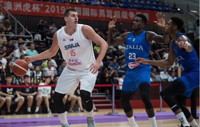 """<span class=""""element-image__caption"""">Nikola Jokić, who was named to the All-NBA first team last season, is one of six Serbia players listed at 6ft 10in or taller.</span> <span class=""""element-image__credit"""">Photograph: Tao Zhang/Getty Images</span>"""