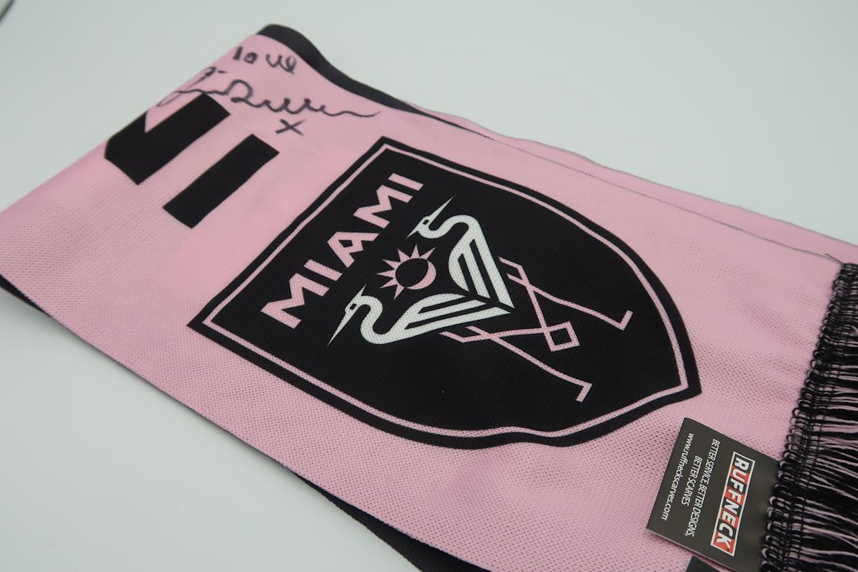 An Inter Miami scarf signed by David Beckham