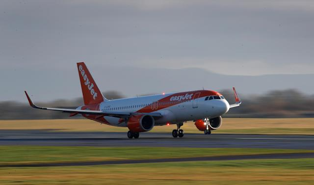 An Easyjet plane takes off from Manchester Airport, UK, on 20 January. (Phil Noble/Reuters)