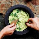 """This extra-smooth take on guac has a touch of sour cream, apple cider vinegar, and olive oil. <a href=""""https://www.epicurious.com/recipes/food/views/avocado-cream-51264650?mbid=synd_yahoo_rss"""" rel=""""nofollow noopener"""" target=""""_blank"""" data-ylk=""""slk:See recipe."""" class=""""link rapid-noclick-resp"""">See recipe.</a>"""