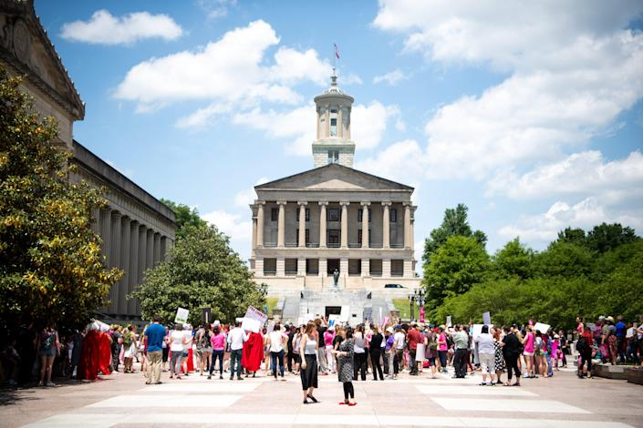 Protesters gather against anti-abortion legislation at Legislative Plaza Tuesday, May 21, 2019, in Nashville, Tenn.