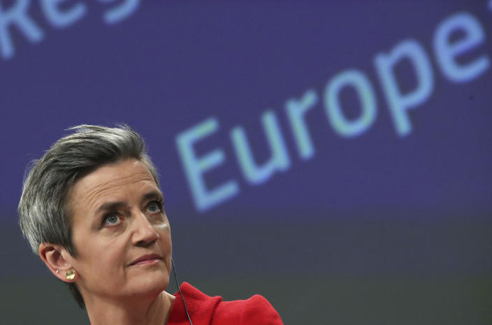 European Commission Vice President Margrethe Vestager speaks during a media conference on the proposal for a Regulation to address distortions caused by foreign subsidies in the Single Market and on the European Industrial Strategy Update at EU headquarters in Brussels, Wednesday, May 5, 2021. (Yves Herman, Pool via AP)
