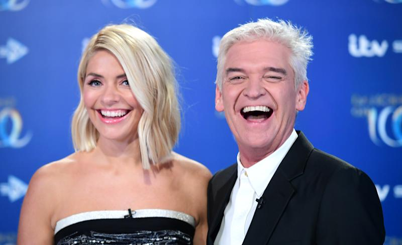 Holly Willoughby (left) and Phillip Schofield attending the launch of Dancing On Ice 2020, held at Bovingdon Airfield, Hertfordshire. (Photo by Ian West/PA Images via Getty Images)