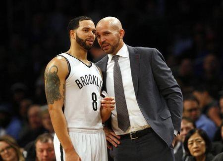 Brooklyn Nets point guard Deron Williams (8) and Jason Kidd in the second half of NBA game against the Boston Celtics at Barclays Center. Dec 10, 2013; Noah K. Murray-USA TODAY Sports