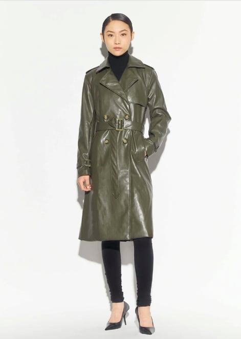<p>A Vegan leather trench adds the perfect hint of color and texture to any fall look.</p> <p><span>Lucia Trench</span> ($375)</p>