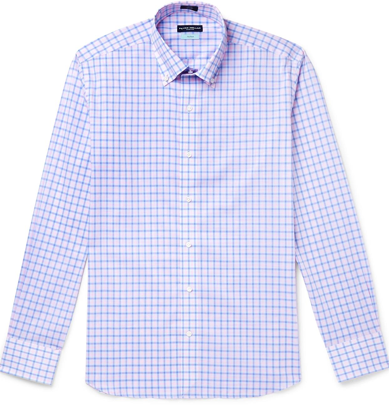 Peter Millar's Capri Slim-Fit Button-Down Collar Checked Cotton Shirt ('Multiple' Murder Victims Found in Calif. Home / 'Multiple' Murder Victims Found in Calif. Home)