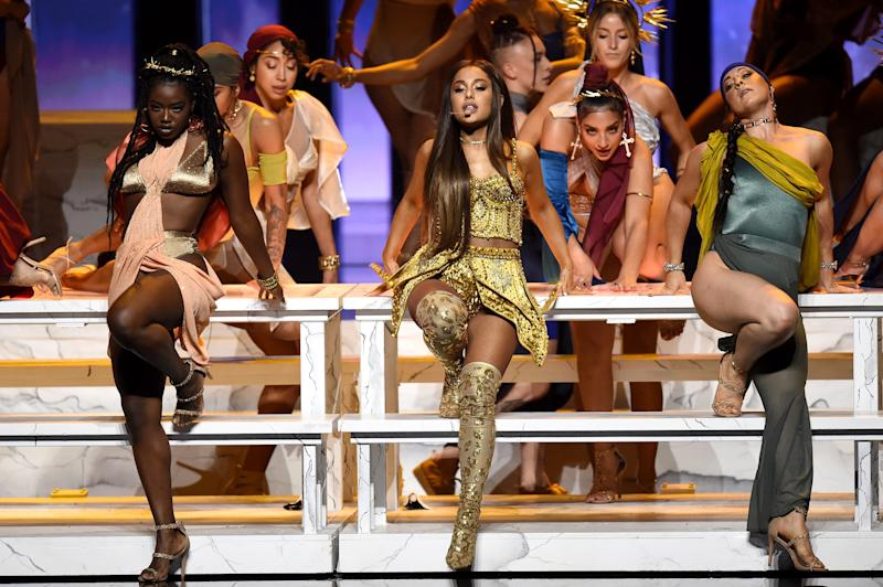 Ariana Grande performs onstage at the 2018 MTV Video Music Awards. (Michael Loccisano via Getty Images)