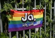 A flag is pictured ahead of a vote on same-sex marriage in Bern