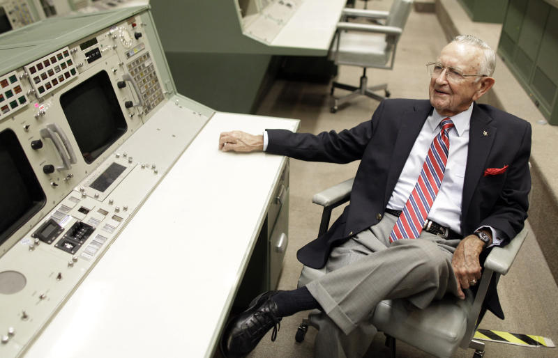 FILE - This Tuesday, July 5, 2011, file photo, NASA Mission Control founder Chris Kraft talks about early Apollo missions during an interview in the old Mission Control at Johnson Space Center in Houston. Kraft, the founder of NASA's mission control, died Monday, July 22, 2019, just two days after the 50th anniversary of the Apollo 11 moon landing. He was 95. (AP Photo/David J. Phillip, File)