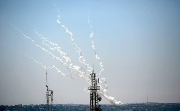 Rockets are launched from Gaza Strip toward Israel last Thursday. Hamas, which controls Gaza, and other Palestinian militants have launched more than 3,000 rockets at Israel in the recent round of fighting.