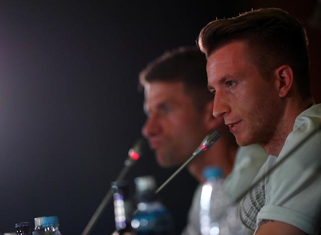 Soccer Football - World Cup - Germany Press Conference - Sochi, Russia - June 20, 2018 Germany's Marco Reus and Thomas Muller during the press conference REUTERS/Hannah McKay
