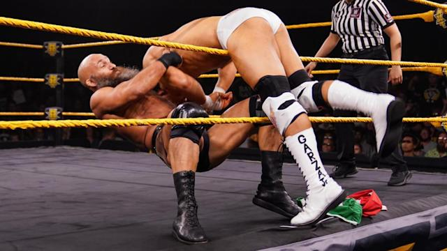 Tommaso Ciampa performs during an episode of NXT shortly after returning from neck surgery. (Photo courtesy of WWE)