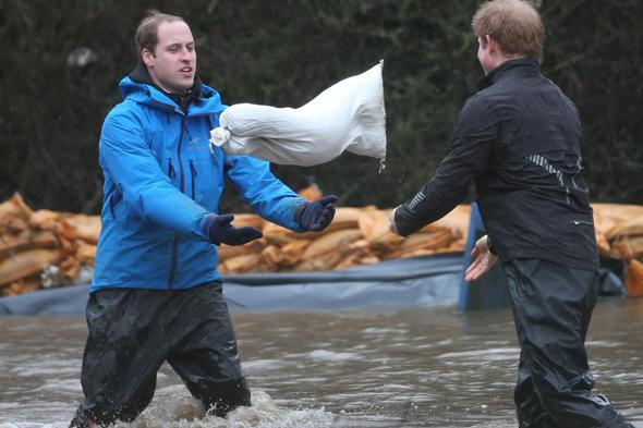 prince william harry help flood town datchet berkshire pictures