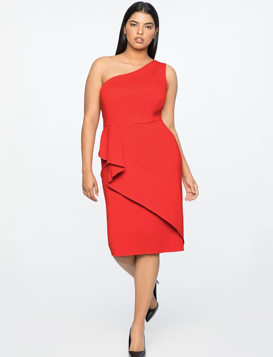 """<p>With its one-shoulder and asymmetrical ruffle, this is the perfect day-to-night dress. Wear it with a blazer during the day, and take it off for a chic evening look. <br>Asymmetrical one-shoulder dress, <a rel=""""nofollow noopener"""" href=""""https://fave.co/2qmZLTa"""" target=""""_blank"""" data-ylk=""""slk:eloquii.com"""" class=""""link rapid-noclick-resp"""">eloquii.com</a> </p>"""