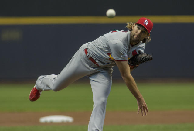 St. Louis Cardinals pitcher Michael Wacha pitches to the Milwaukee Brewers during the first inning of a baseball game Wednesday, April 17, 2019, in Milwaukee. (AP Photo/Darren Hauck)