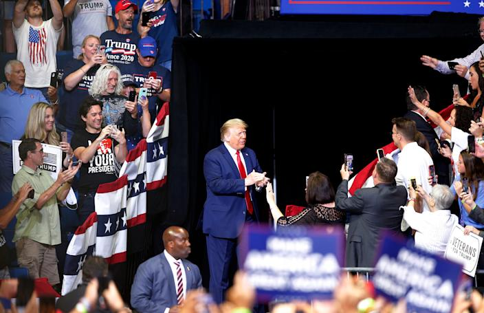 President Donald Trump is introduced during a rally at the BOK Center in Tulsa, Okla., Saturday, June 20, 2020.