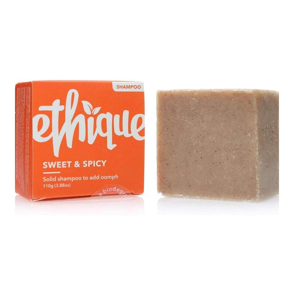 Orange, cinnamon, and ginger give Ethique's Sweet & Spicy Shampoo its zesty scent. The salt in the formula works at the roots to remove the oil and grime that can weigh hair down, and a combination of coconut oil and cocoa butter adds all-over moisture.