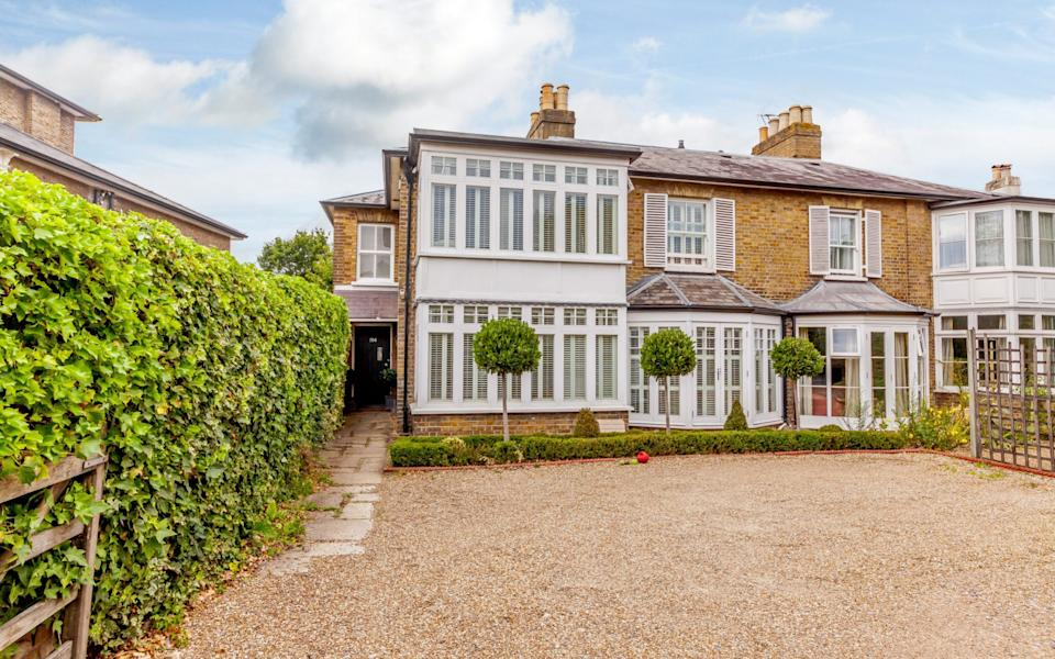 This house is just a six-minute drive to the sought after Cleves School in Weybridge. It is £1.35m with Knight Frank