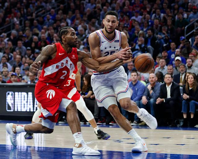 This Raptors-Sixers series has no shortage of stars. (AP Photo/Chris Szagola)
