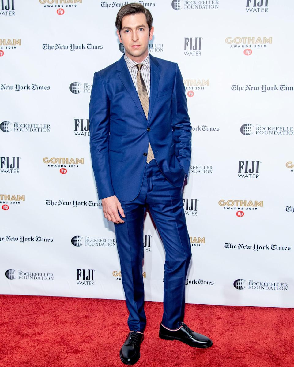 """<h1 class=""""title"""">December 3: Nicholas Braun</h1> <div class=""""caption""""> Nicholas Braun plays Cousin Greg on Succession, and it shows: this #BigFitoftheDay practically has its own 401K. </div> <cite class=""""credit"""">Roy Rochlin / Getty Images</cite>"""