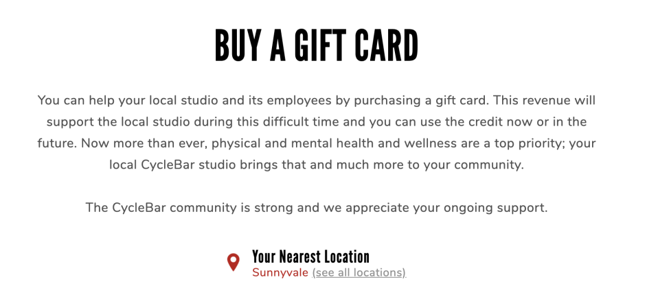 CycleBar is offering gift cards for purchase. (Photo: CycleBar)