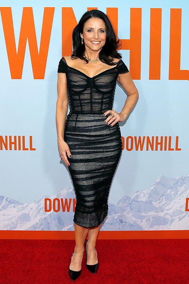 """The star wore a stunning black Dolce & Gabbana dress to the N.Y.C premiere of her film <em>Downhill</em> in Feb. 2020. Her impeccable look almost made it seem worth the fact that she could barely take a breath in her skin-tight ensemble.  """"I can't breathe so I don't know if that's meaningful,"""" the actress told <a href=""""https://pagesix.com/2020/02/13/julia-louis-dreyfus-couldnt-breathe-in-her-dolce-gabbana-dress/""""><em>Page Six</em></a> as she posed on red carpet."""