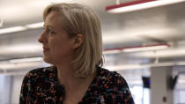 """This image released by Netflix shows Carole Cadwalladr, journalist for The Guardian, in a scene from """"The Great Hack."""" (Netflix via AP)"""