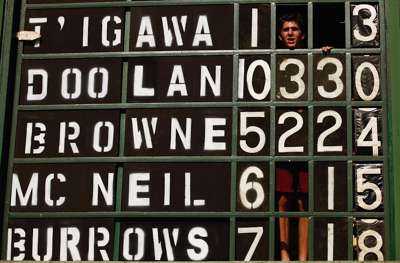 [ICCWWC2013] SYDNEY, AUSTRALIA - MARCH 19:  A scoreboard operator watches on during the ICC Women`s World Cup 2009 Super Six match between New Zealand and Pakistan at Drummoyne Oval on March 19, 2009 in Sydney, Australia.  (Photo by Brendon Thorne/Getty Images)