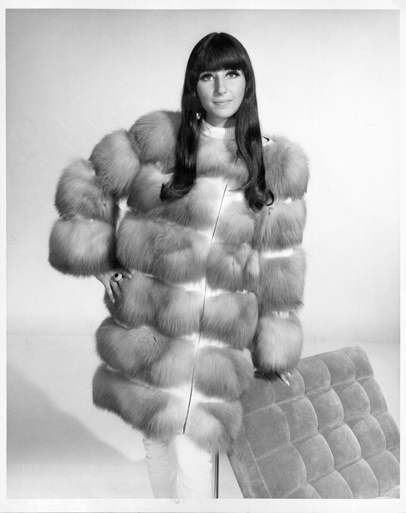 CIRCA 1966: Entertainer Cher poses for a portrait wearing a fur coat in circa 1966. (Photo by Michael Ochs Archives/Getty Images)