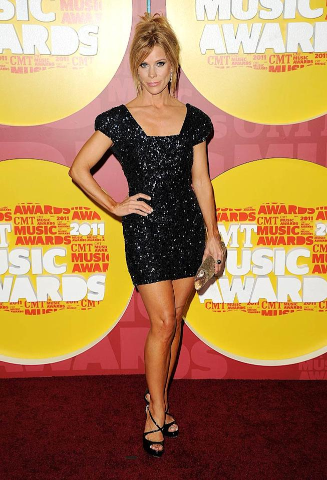 """Curb Your Enthusiasm's"" Cheryl Hines was feeling a little bit country in her sparkling mini and golden spray tan. Jason Merritt/<a href=""http://www.gettyimages.com/"" target=""new"">GettyImages.com</a> - June 8, 2011"