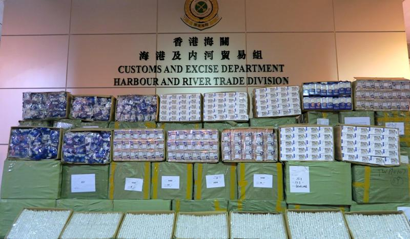 Hong Kong customs seize US$16.7 million of smuggled goods including drugs, ivory, shark fins, cigarettes and frozen meat in Lunar New Year raids