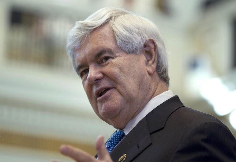 Republican presidential candidate, former House Speaker Newt Gingrich speaks on the floor of the Oklahoma State Legislature in Oklahoma City, Okla., Tuesday, Feb. 21, 2012. (AP Photo/Evan Vucci)