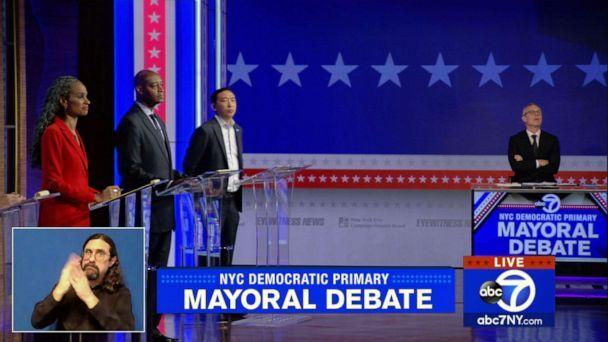 PHOTO: Democratic candidates for New York City Mayor take part in a mayoral debate organized by WABC in New York, June 2, 2021. (WABC)
