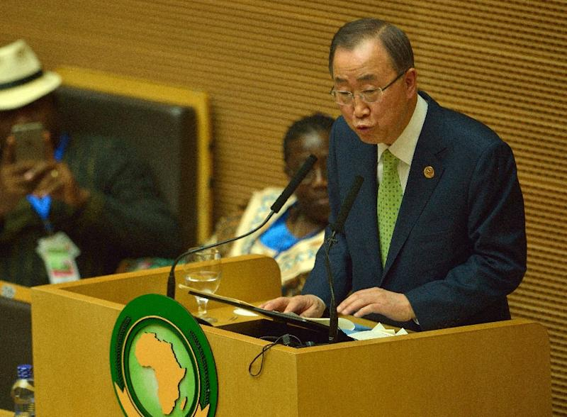 UN Secretary General Ban ki-Moon addresses delagates at the African Union headquarters in Addis Ababa, on January 31, 2016 (AFP Photo/Tony Karumba)
