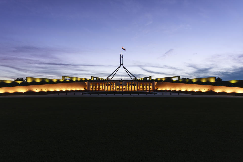 Australian Parliament House in the evening.