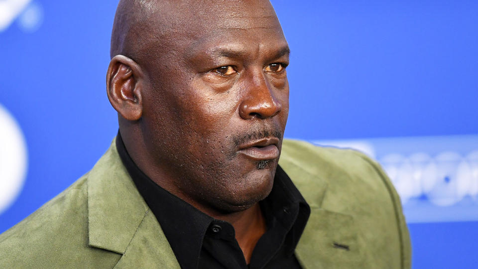 Michael Jordan, pictured here speaking to the media after a Charlotte Hornets game.