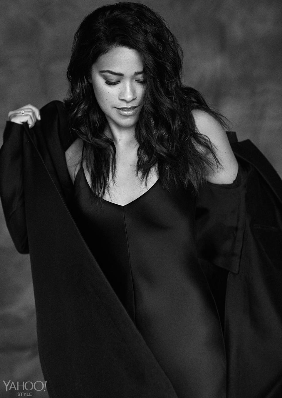 """<p>""""Sometimes I'll be like, <i>Come on, Jane. Don't be such a wimp!</i>"""" Rodriguez says about her character. """"But what I've realized is: Don't mistake kindness for weakness.""""</p><p><i><b>Equipment </b>Raquel silk-charmeuse maxi dress, $400, <a href=""""https://www.net-a-porter.com/us/en/product/638286/Equipment/racquel-silk-charmeuse-maxi-dress"""" rel=""""nofollow noopener"""" target=""""_blank"""" data-ylk=""""slk:Net-A-Porter"""" class=""""link rapid-noclick-resp"""">Net-A-Porter</a>. <b>Hermès </b><a href=""""http://usa.hermes.com/"""" rel=""""nofollow noopener"""" target=""""_blank"""" data-ylk=""""slk:wool coat"""" class=""""link rapid-noclick-resp"""">wool coat</a>, price upon request. <b>Tiffany & Co.</b> Tiffany Infinity ring in gold, $2,200, <a href=""""http://www.tiffany.com/jewelry/rings/tiffany-infinity-ring-GRP08688/tiffany-infinity-ring-35244077?&&fromGrid=1&search_params=p+1-n+10000-c+287466-s+5-r+-t+-ni+1-x+-lr+-hr+-ri+-mi+-pp+1197+6&search=0&origin=browse&searchkeyword=&trackpdp=bg&fromcid=287466"""" rel=""""nofollow noopener"""" target=""""_blank"""" data-ylk=""""slk:Tiffany & Co."""" class=""""link rapid-noclick-resp"""">Tiffany & Co. </a></i><br></p>"""