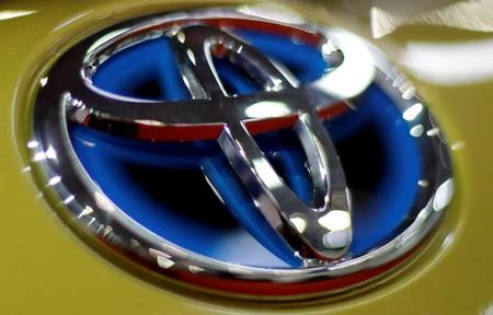 The logo of Toyota is seen on a car during the Prague Autoshow in Prague