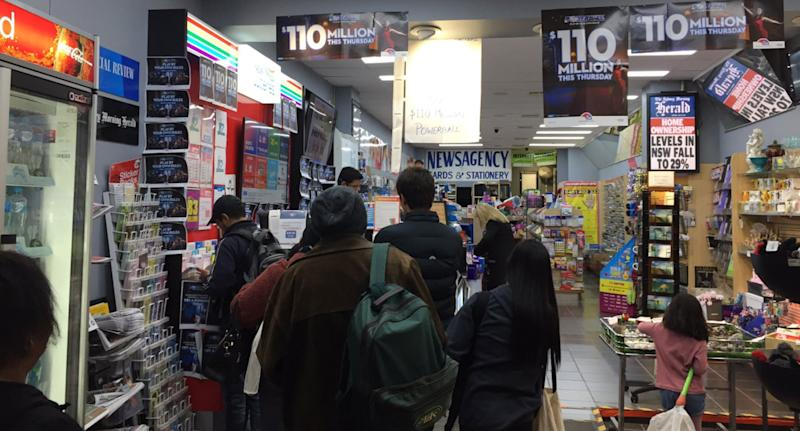 People queuing for a Powerball lotto ticket in Bondi Junction, Sydney.