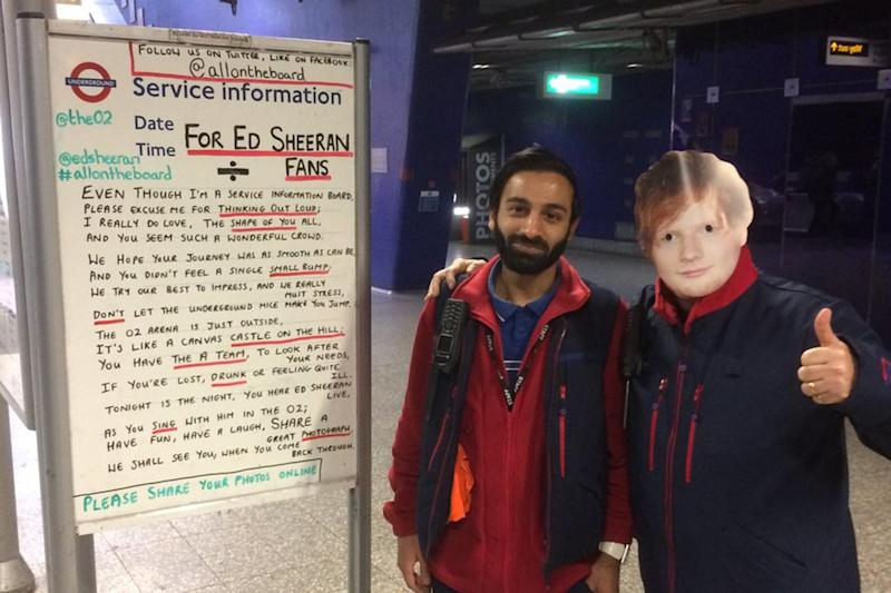 Funny sign: TfL staffed donned masks of Ed Sheeran's face for the occasion: @allontheboard/Twitter