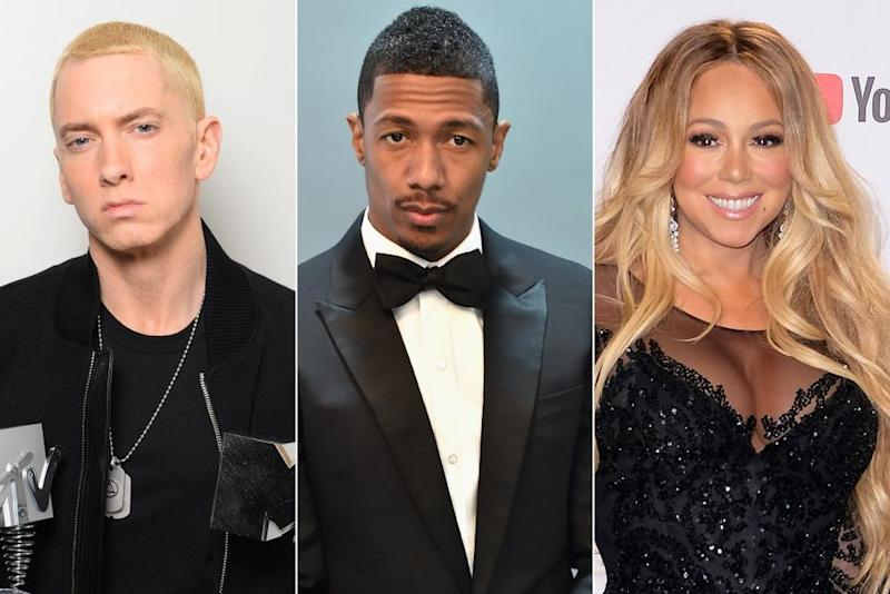 Eminem, Nick Cannon, Mariah Carey | Matthew Simmons/Getty Images; Alberto E. Rodriguez/Getty Images; Dave J Hogan/Getty Images